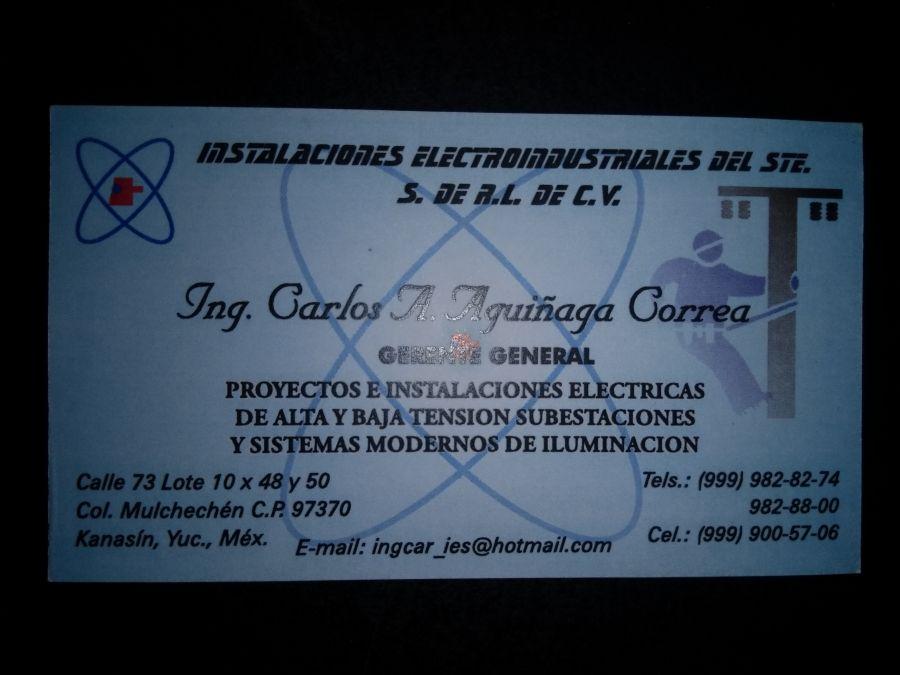 Electricista Instalaciones Electroindustriales  Instalaciones Eléctricas, Sistemas de Iluminación. Merida